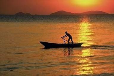 imagen de un hombre en una barca llegando a casa
