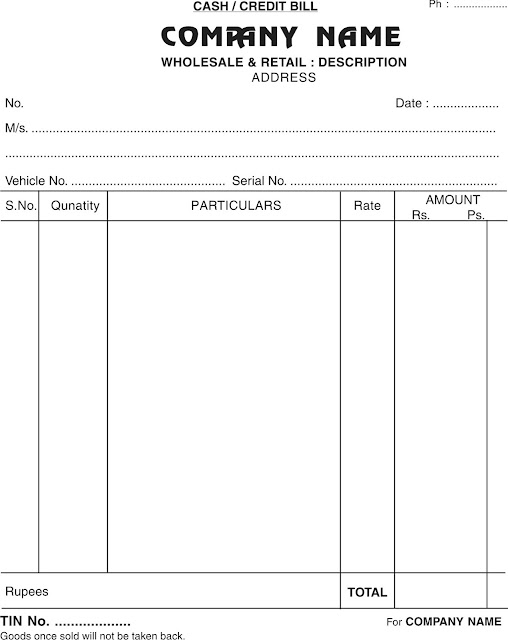 Cash Bill Format Doc Sample Receipt Template Fees Receipt Format