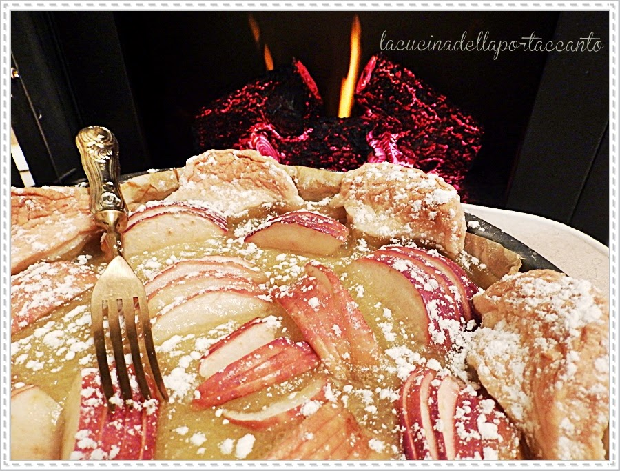 crostata alle mele, cioccolato fondente e crema / apple tart, dark chocolate and cream