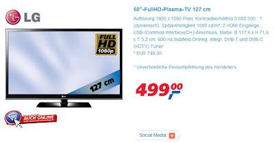50 Zoll Plasma-TV LG 50PV250 ab Montag für 499 Euro bei Real