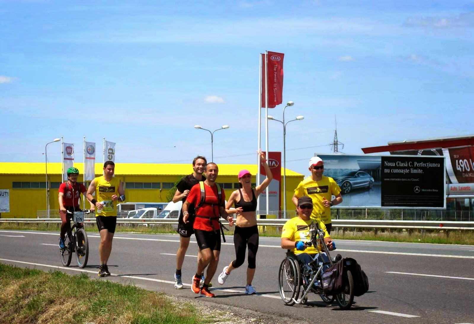 Cum am alergat 61 km alături de Vasile Stoica pe traseul Timişoara - Lugoj. Când visele devin realitate. Grup pe traseu