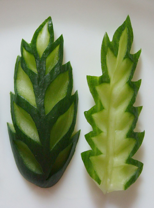 Carved cucumber leaves