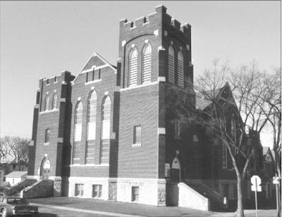 The former St. John's Presbyterian (United) Church, ca. 1988. Photo courtesy of the City of Winnipeg Historical Report.