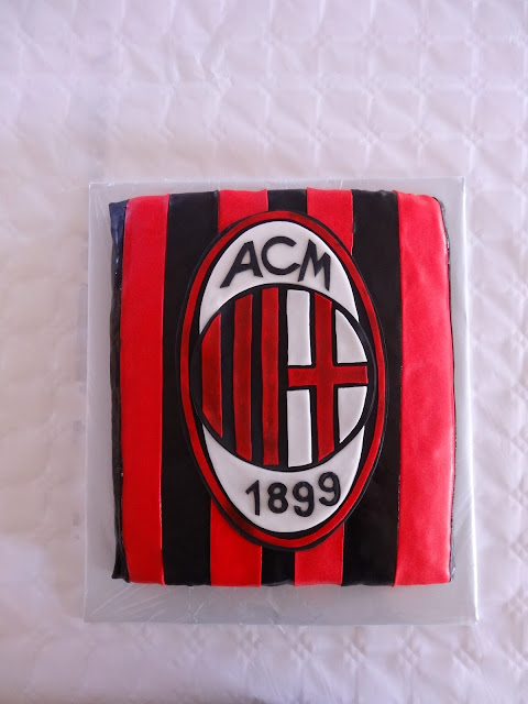 Tårta, pojke, fotbolls tårta, röd och svart
