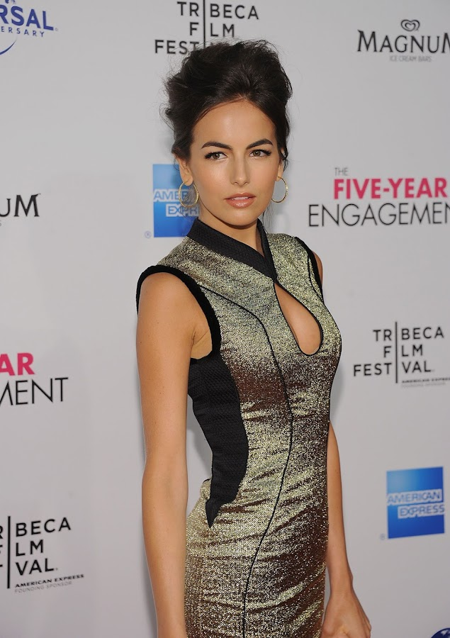 Camilla Belle at The Five Year Engagement premiere in NYC in a gold metallic dress designed by Jason Wu