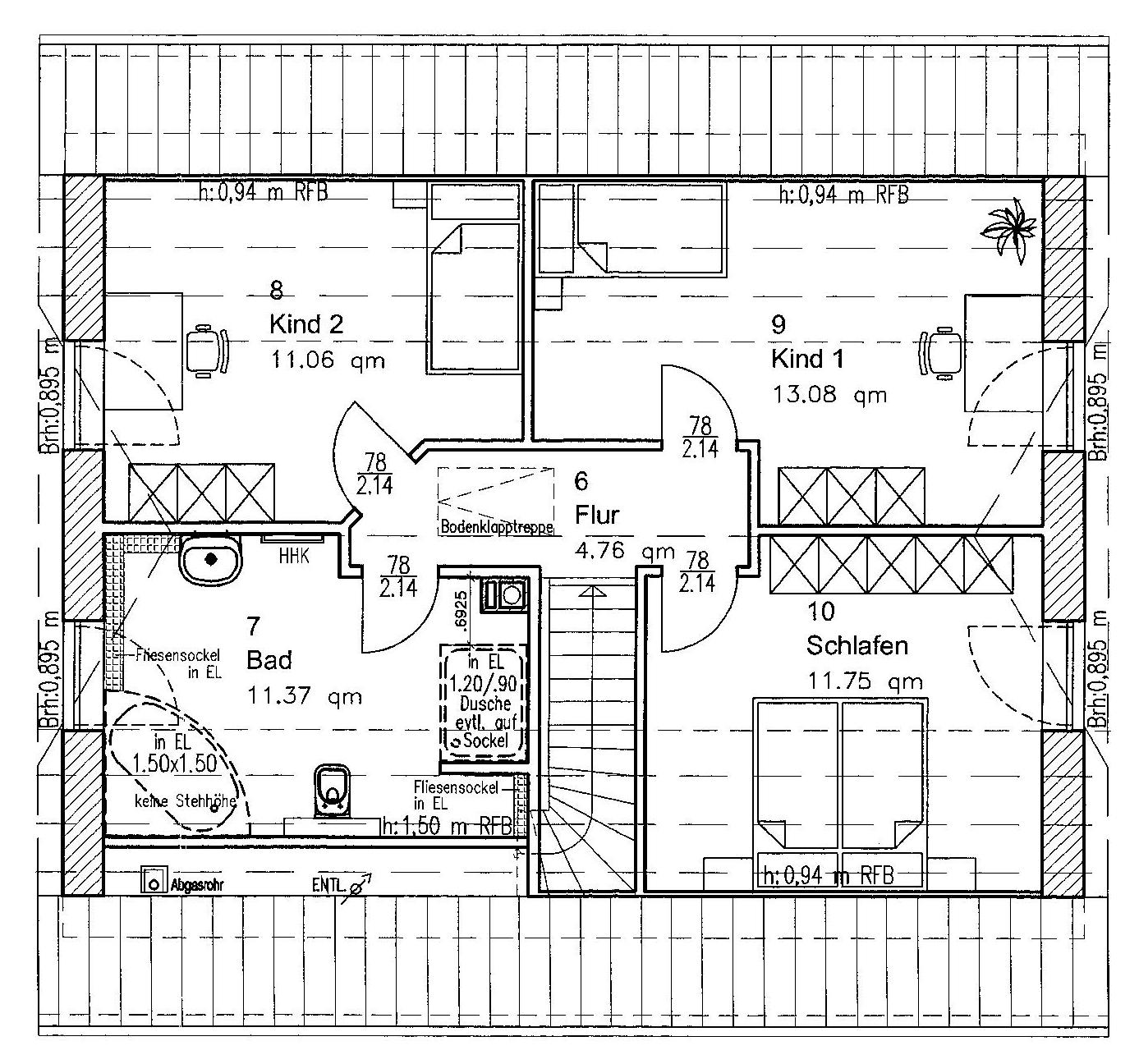grundriss einfamilienhaus mit gerader treppe raum und. Black Bedroom Furniture Sets. Home Design Ideas