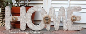 Wooden Letter and Burlap Home Sign