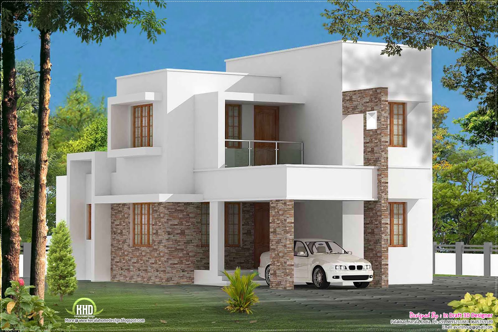 Simple 3 bed room contemporary villa kerala home design for Minimalist house design kerala
