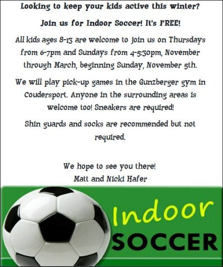 Thursdays & Sundays--Indoor Soccer