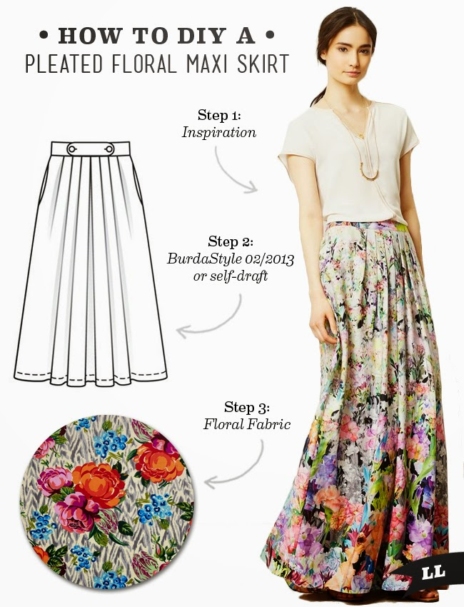 diy pleated floral maxi skirt sew diy bloglovin