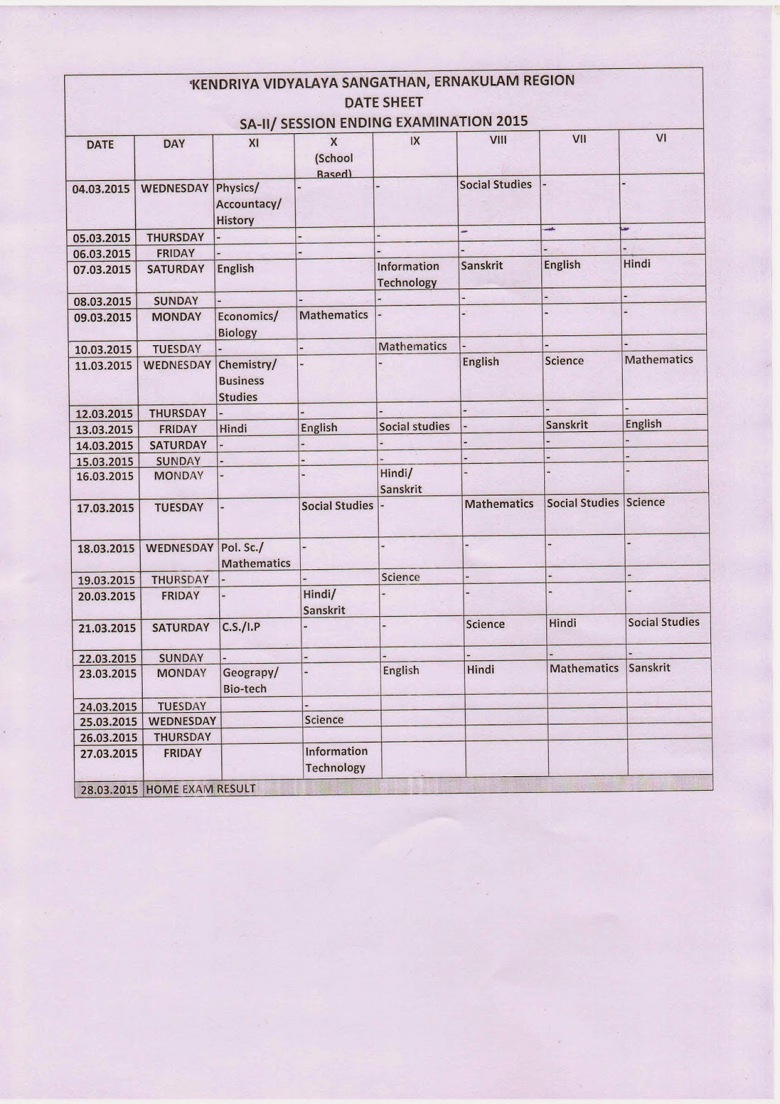 Date sheet for SA-ll for Class-Vl-X and SEE Class XI ~ Library ...