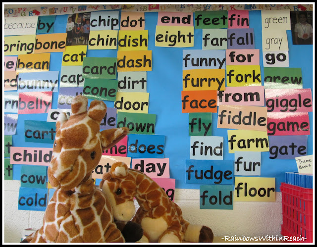 photo of: Word Wall in First Grade (printed words on color stock)