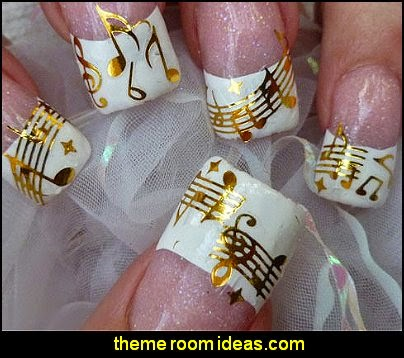 Decorating theme bedrooms maries manor nail art music themed old music notes stars metallic water transfer not stickers prinsesfo Gallery