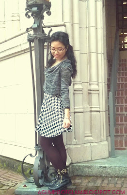 OOTD black and white houndstooth circle skirt