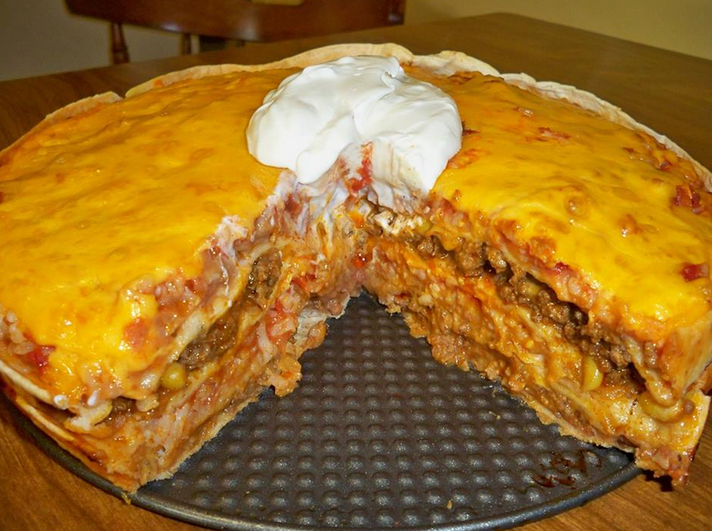 layered taco bake recipe tortillas