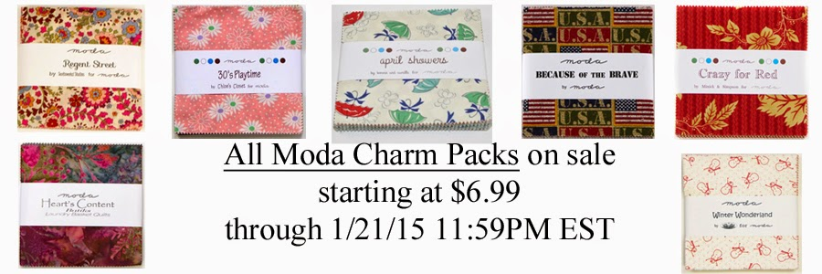 All Moda Charm Packs on sale, starting at $6.99!
