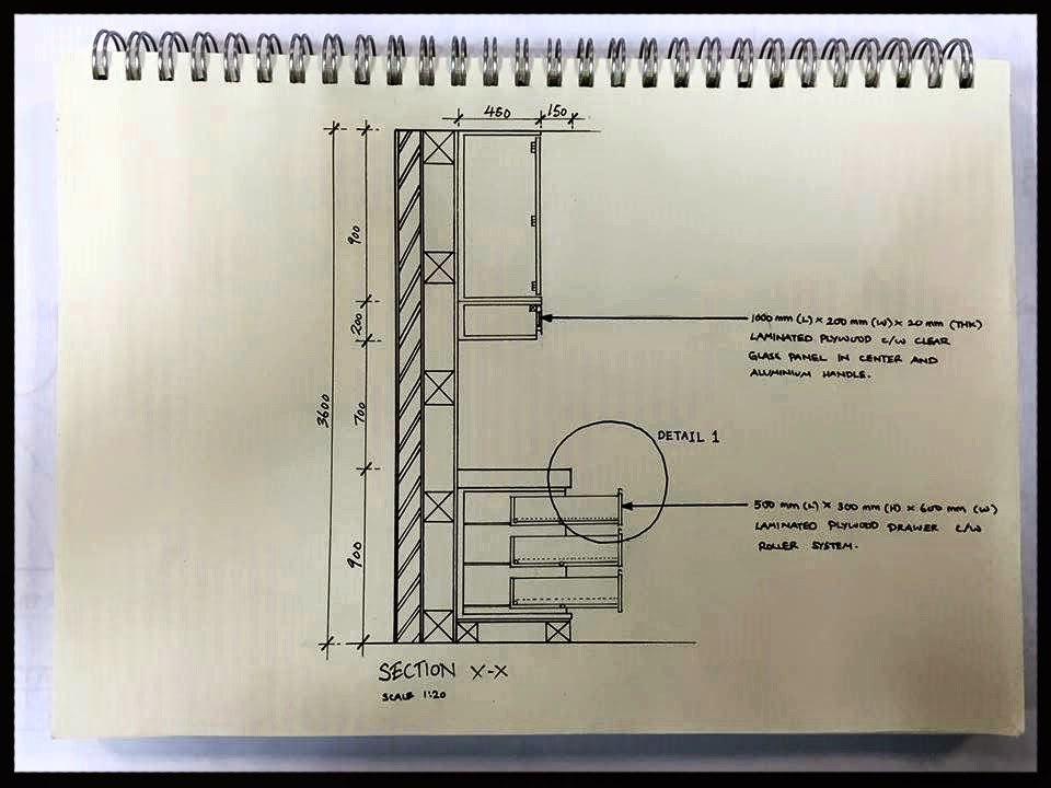 Dearadh is cool built in furniture detail drawing group for Kitchen cabinet section