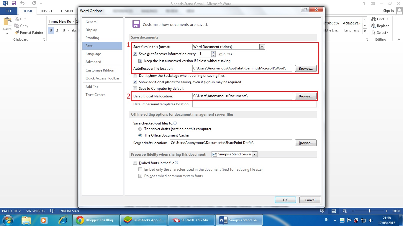 how to set autosave in word 2013