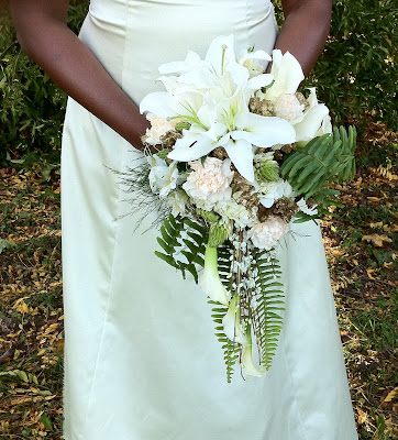 White & Gold Bridal Cascade by Stein Your Florist Co.