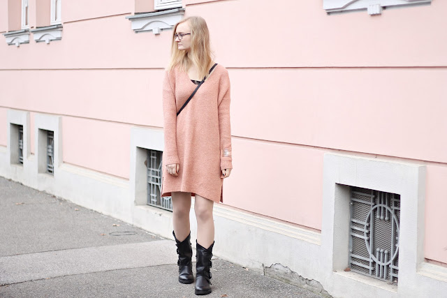 dusty pink knit dress