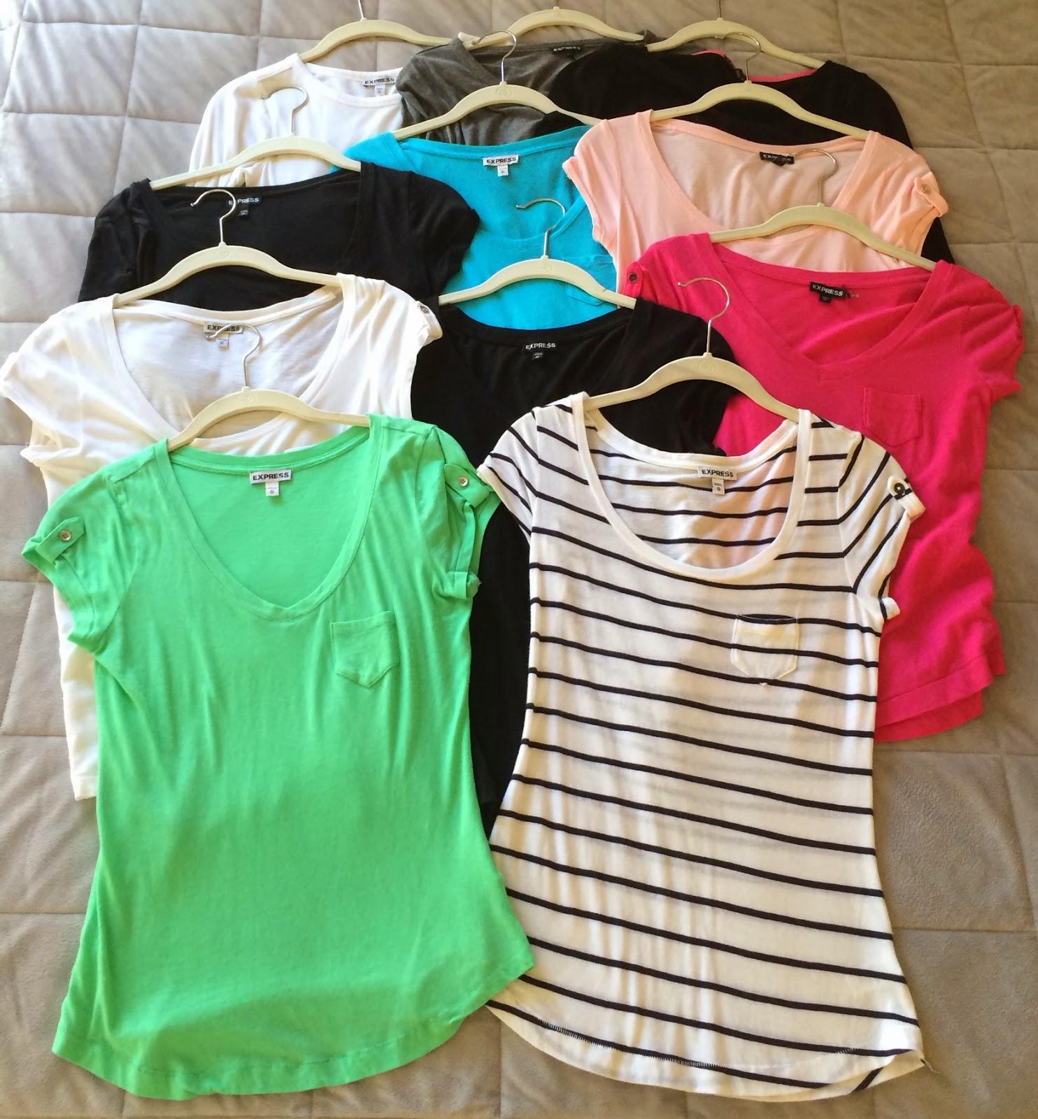 Express t shirt, shirttail hem, 3/4 length sleeve, scoop neck, v neck, bateau neck, short sleeve, long sleeve, tab shoulder, zip shoulder, button shoulder