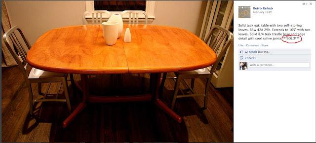 Teak dining room table sold on Retro Rehab in Minneapolis