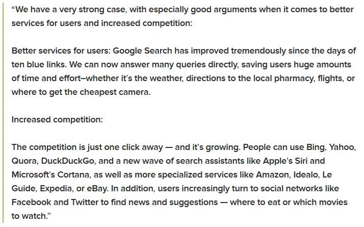 Google Issues Internal Memo Regarding EU's Antitrust Charges