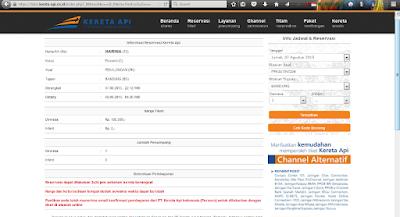 Informasi awal reservasi tiket kereta api online