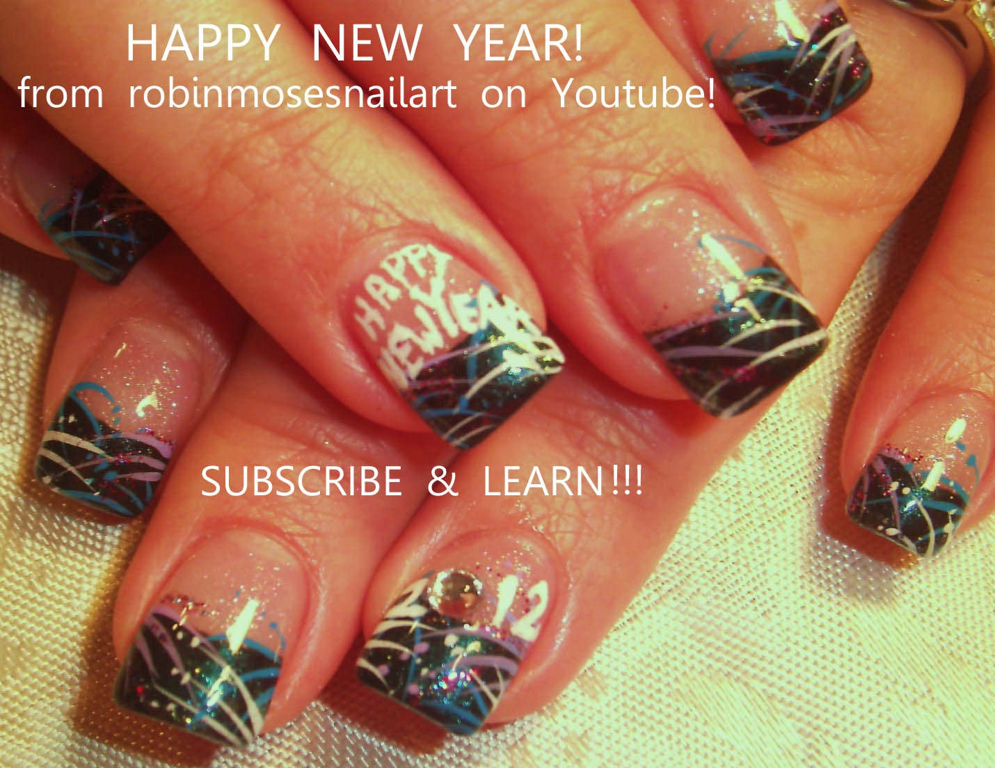 Nail Design Ideas 2012 nail art ideas and artifical nail design paki indian fashion long nails art Easy Nye New Years Eve Nail Art For 2012 Robin Moses Nailart Design