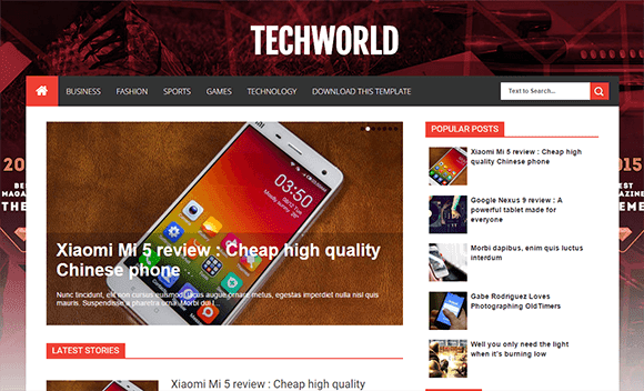 Tech World Blogger Template