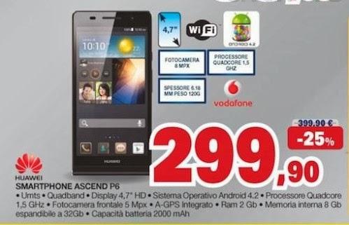 A 299.90 potete acquistare al miglior prezzo disponibile Huawei Ascend P6 fino ai primi giorni di gennaio 2014