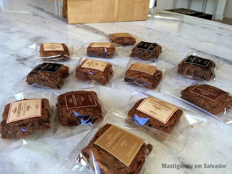 Castanho Brownie Artesanal: Brownies embalados individualmente