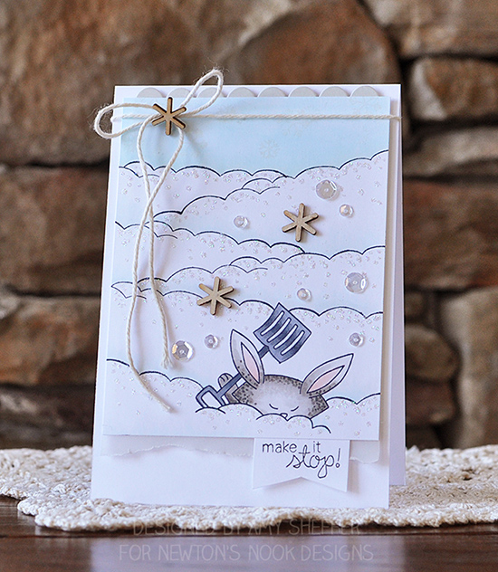 Bunny in snow Card by Amy Sheffer | Winter Tails stamp set by Newton's Nook Designs