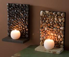 Luminária reutilize pedras decorativas