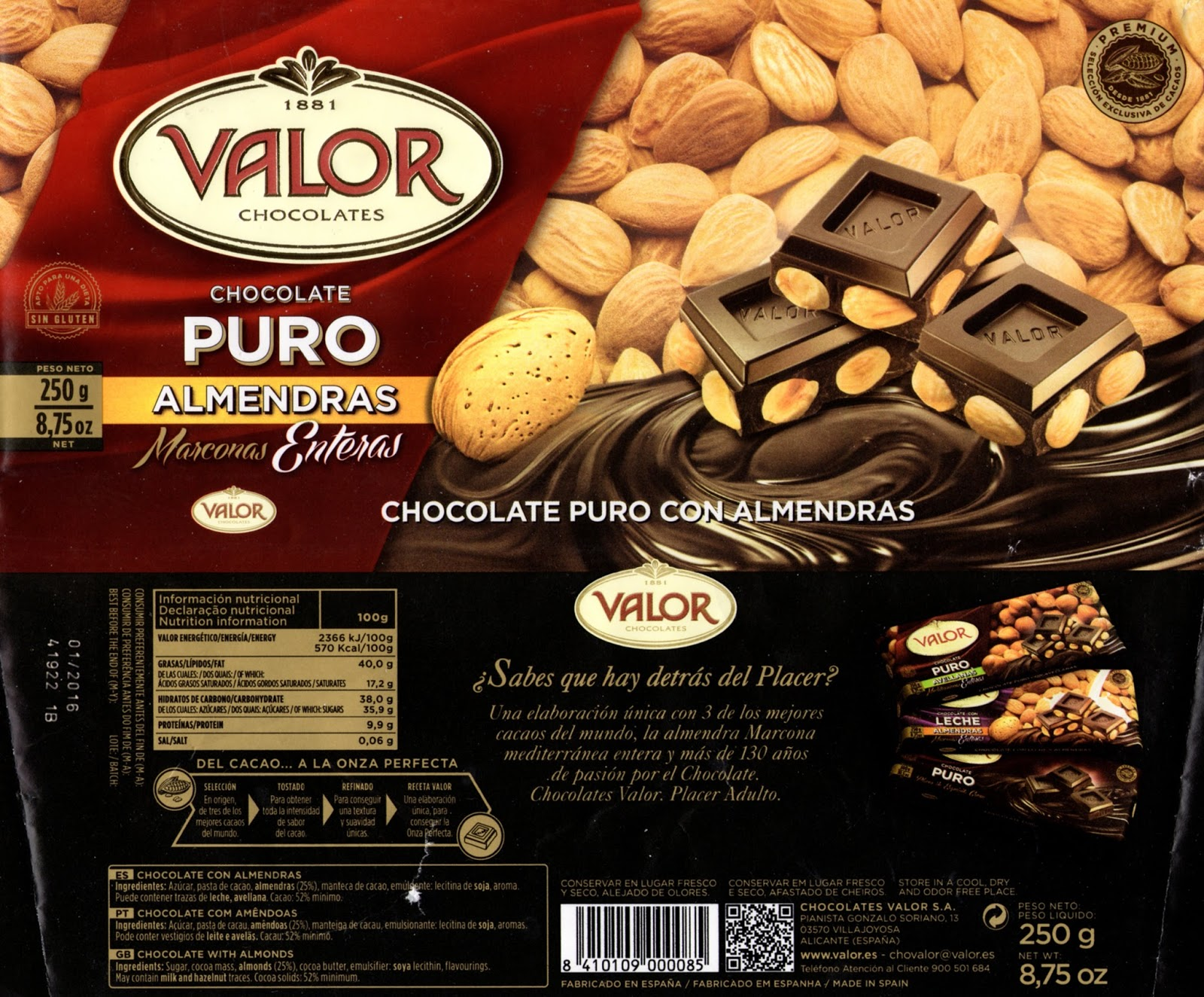 tablette de chocolat noir gourmand valor chocolate puro con almendras