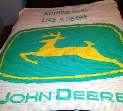 Crochet Pattern For John Deere Afghan : Crochet Parfait: Pams Customized John Deere Afghan