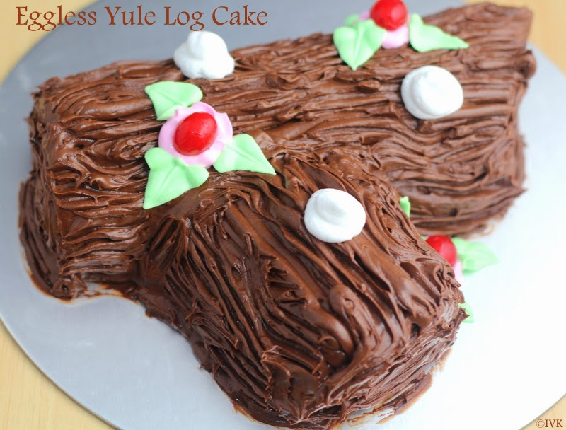 eggless yule log cake buche de noel - Decoration Buche De Noel