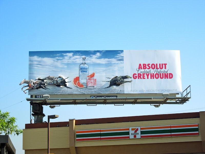 Absolut Greyhound vodka billboard installation