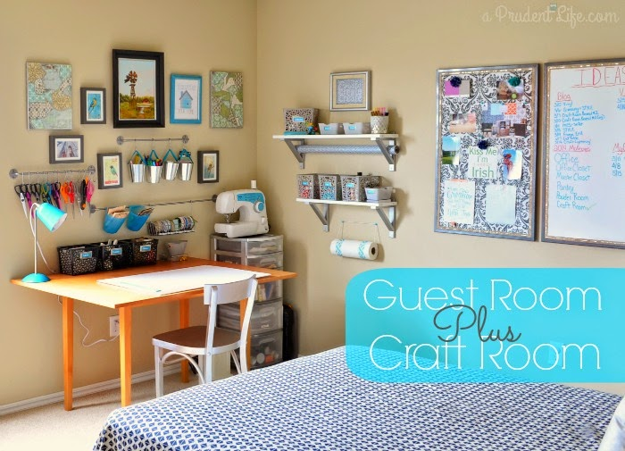 organized craft room/guest room combo