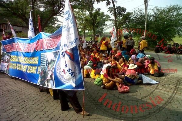 Menuntut 10 Karyawan Yang Di PHK Buruh Menggelar Aksi Demo Mogok kerja Di Depan Pabrik PT Espera Satya