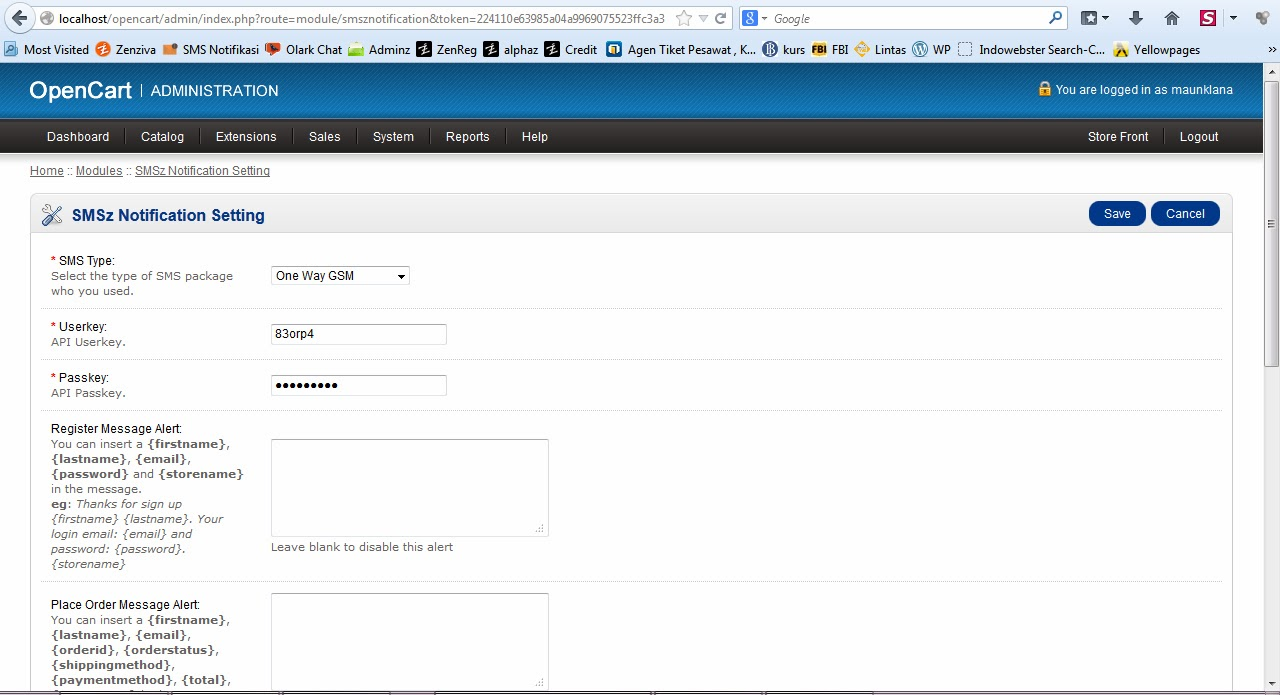 Pilih SMS type, masukan userkey dan passkey