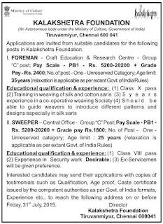 Kalakshetra Recruitments