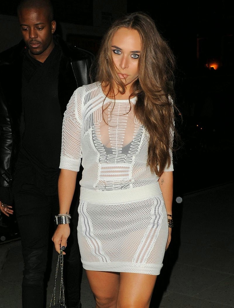 Chloe Green Innerwear Flashing in See Through Dress At London