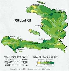 Mapa de Haití , poblacion de 1970