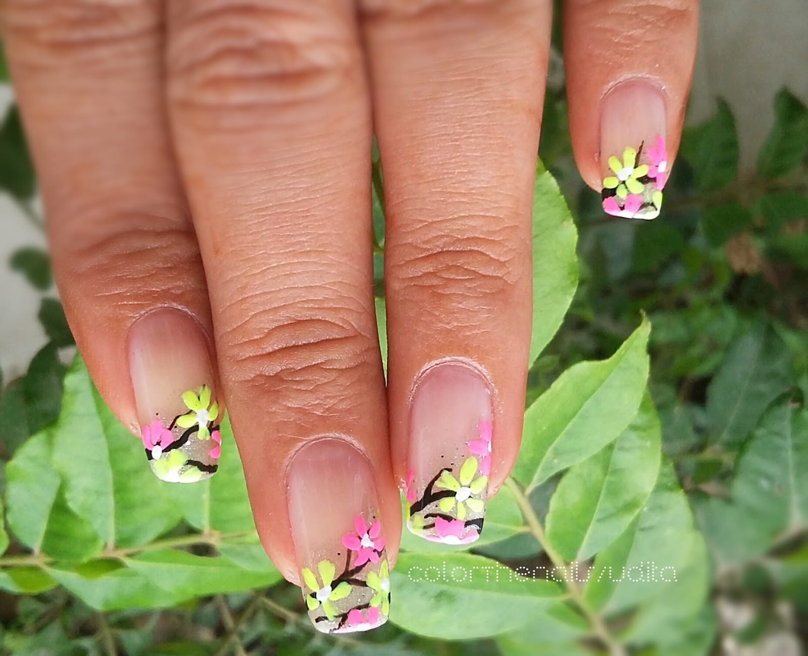 Neon Flowers Nail Art | Color The Nails