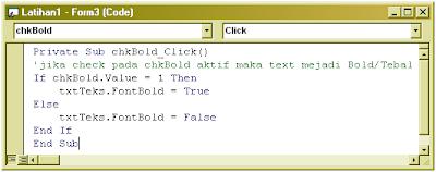 Cara membuat CheckBox (VB 6.0)