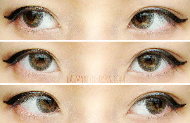Different views of the Lenspop Bunny 3-Color Gray circle lenses from Klenspop, worn with simple ulzzang-inspired makeup on dark brown eyes.