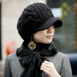 ladies stylish black knitted visor winter hot