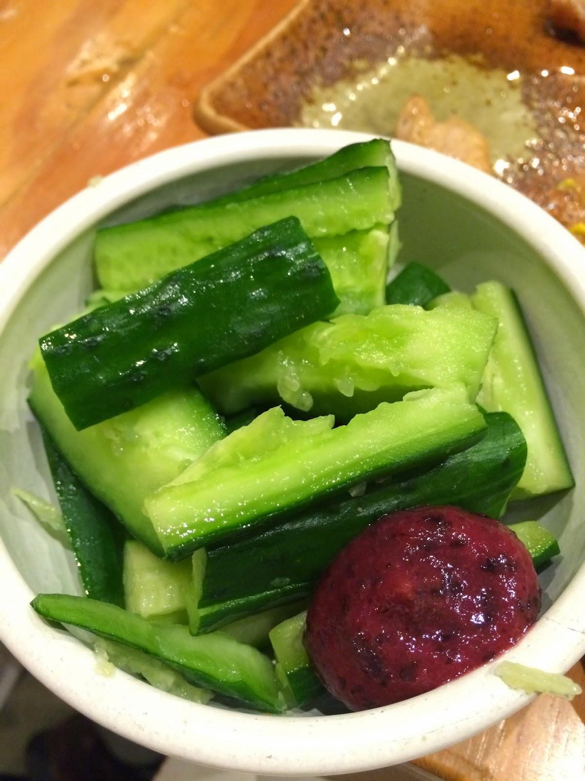 japan Japanese food tokyo cucumber appetiser plum sauce
