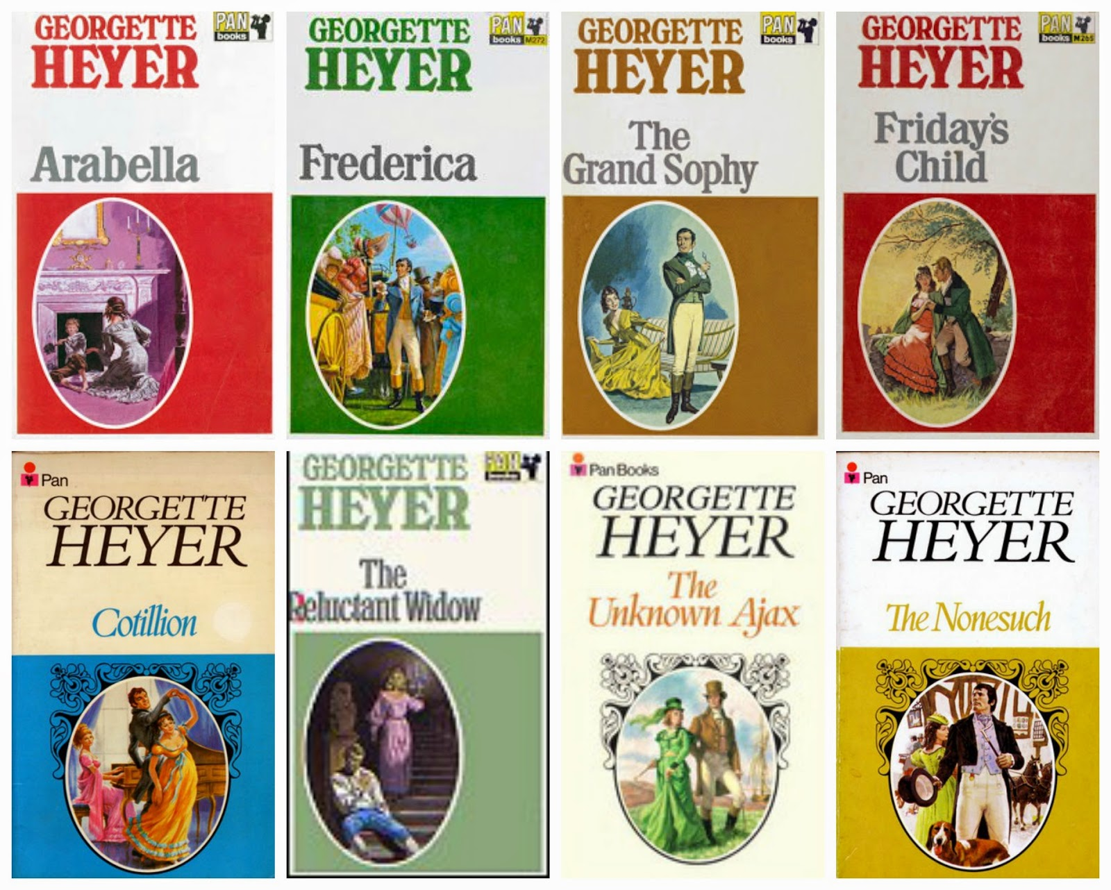 Collage of Book covers of Top 8 Favourite Georgette Heyer Books